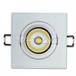 1126 - LED Downlight COB - 5W Square  Adjustable,  White body, Warm white