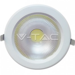1107 - LED Downlight - 30W, COB, Reflektor, White Body, Warm White